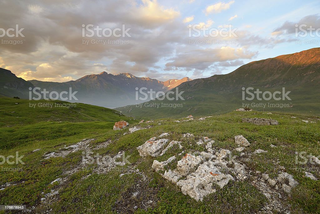 Sunset in the Alps royalty-free stock photo