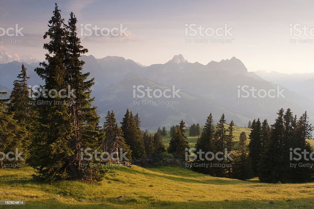 Sunset In the Alps stock photo