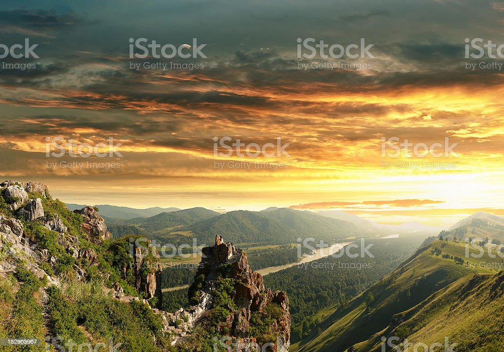 Sunset in the Altai Mountains royalty-free stock photo