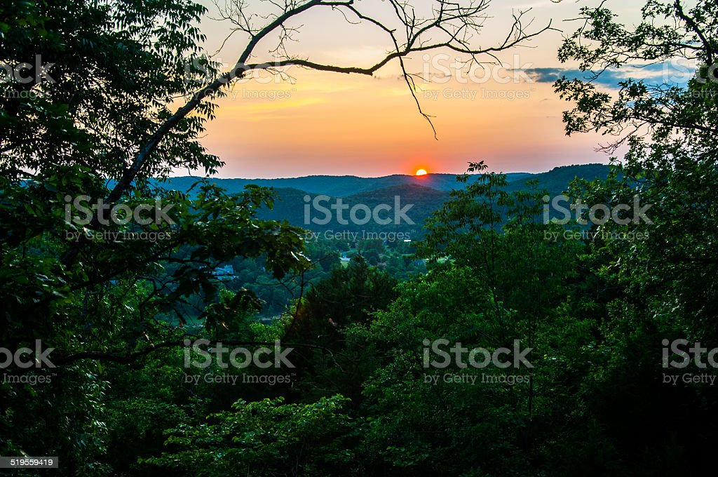 Sunset in the Amazing Arkansas Ozark Mountains Simply beautiful stock photo