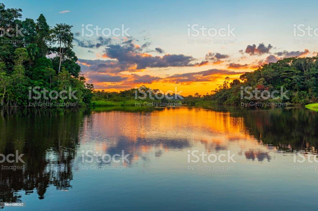 Sunset in the Amazon Rainforest River Basin royalty-free stock photo