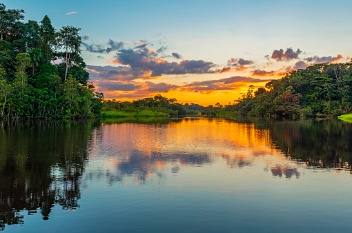 Sunset in the Amazon Rainforest River Basin