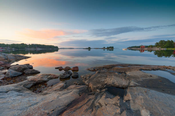 Sunset in the archipelago stock photo