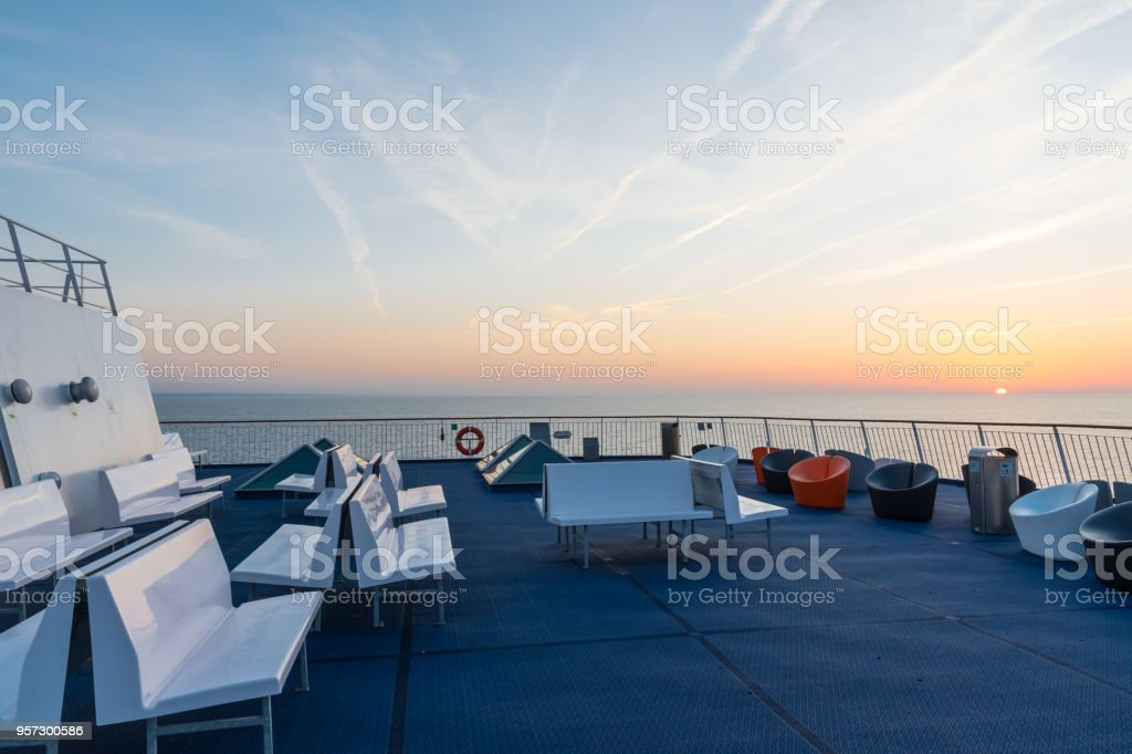 Sunset in the baltic sea stock photo