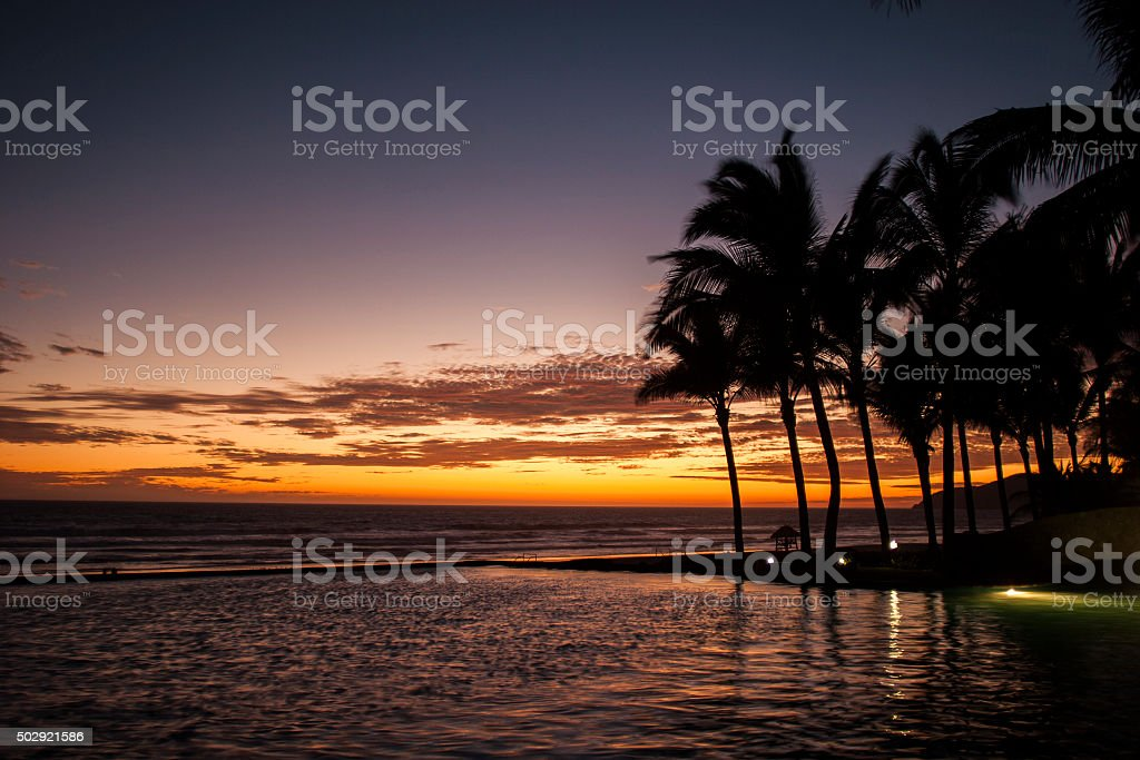 Sunset in the Beach, Acapulco. stock photo