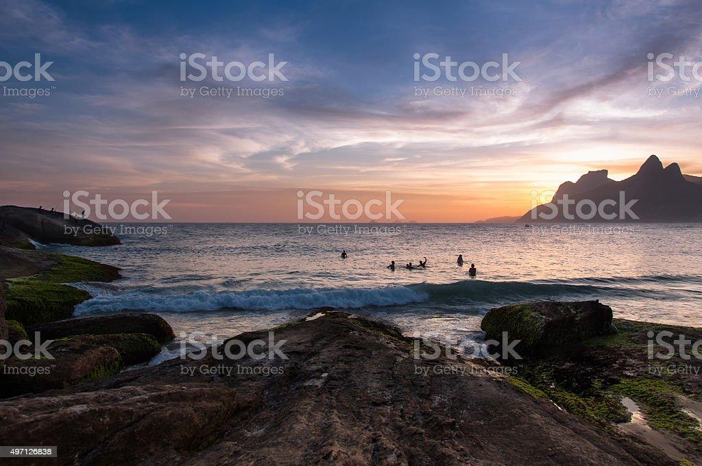 Sunset in the Beach stock photo