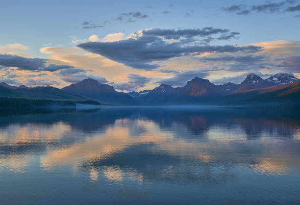 Sunset in the Beautiful Natural Scenery of Glacier National Park's Lake McDonald Area During the Summer in Montana, USA. stock photo