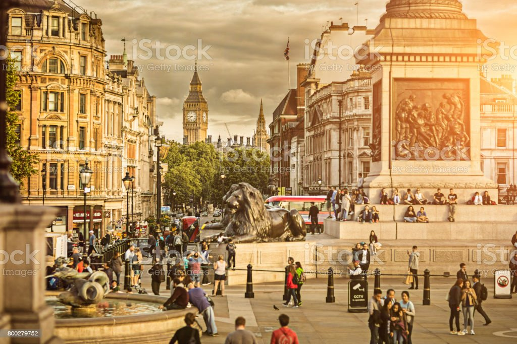 Sunset in the Big Ben from Trafalgar Square stock photo