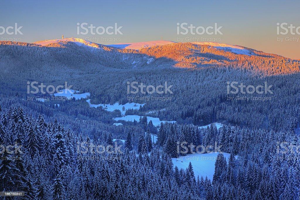 Sunset in the black forest - Feldberg stock photo