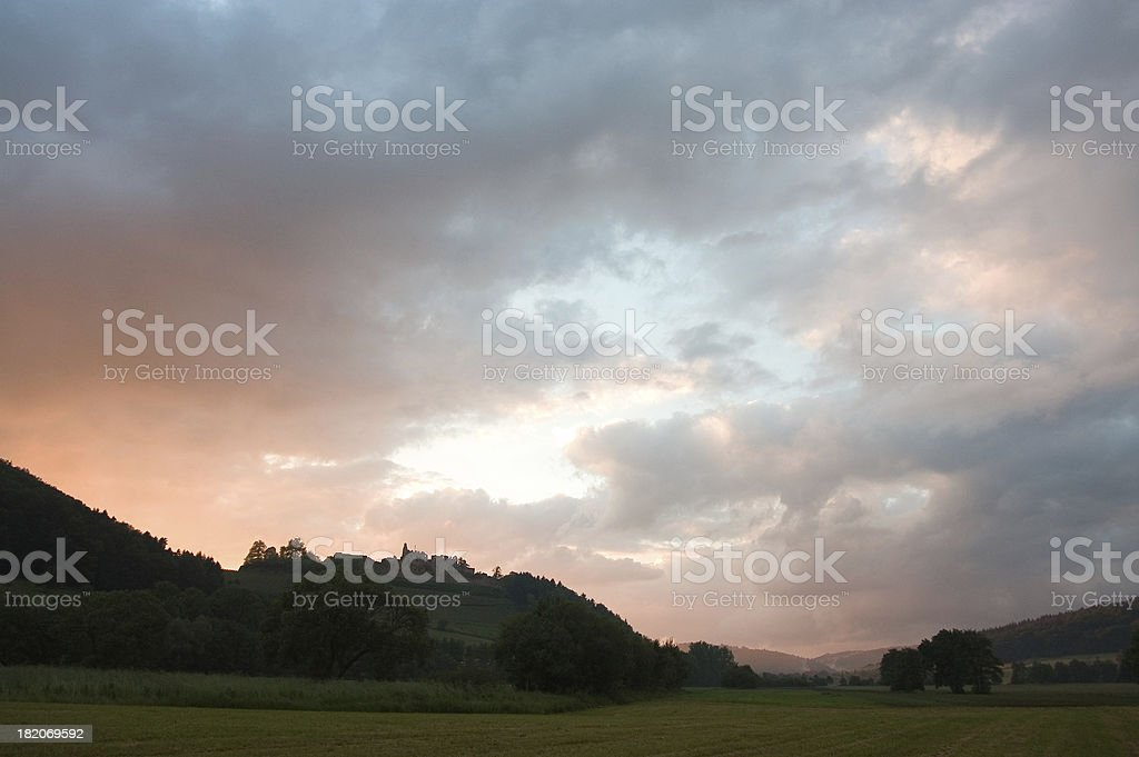 Sunset in the Blackforest Region royalty-free stock photo