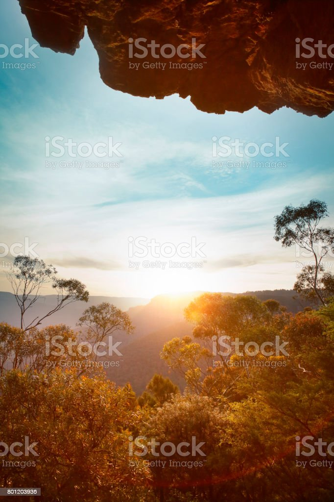 Sunset in the Blue mountains stock photo