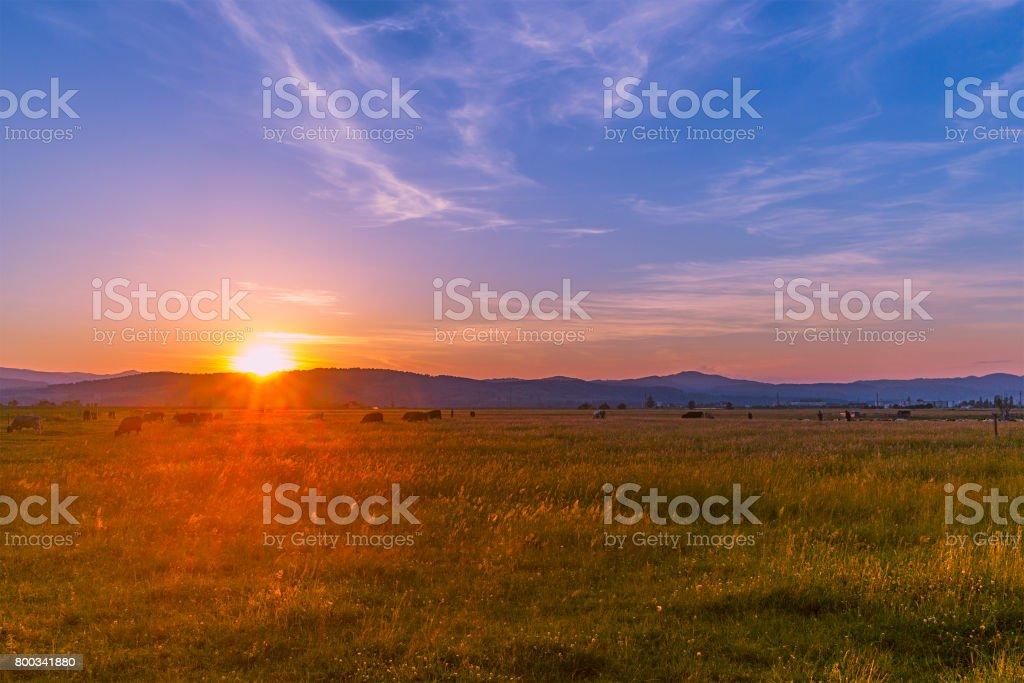 Sunset in the Carpathian Mountains Romania stock photo