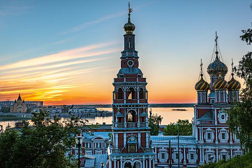 Sunset in the city,Nevsky Cathedral, Nizhny Novgorod. Russia,Nikon D3x