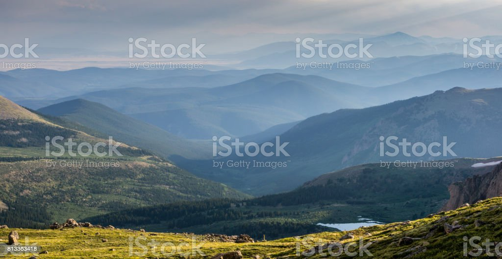 Sunset in the Colorado Mountains stock photo