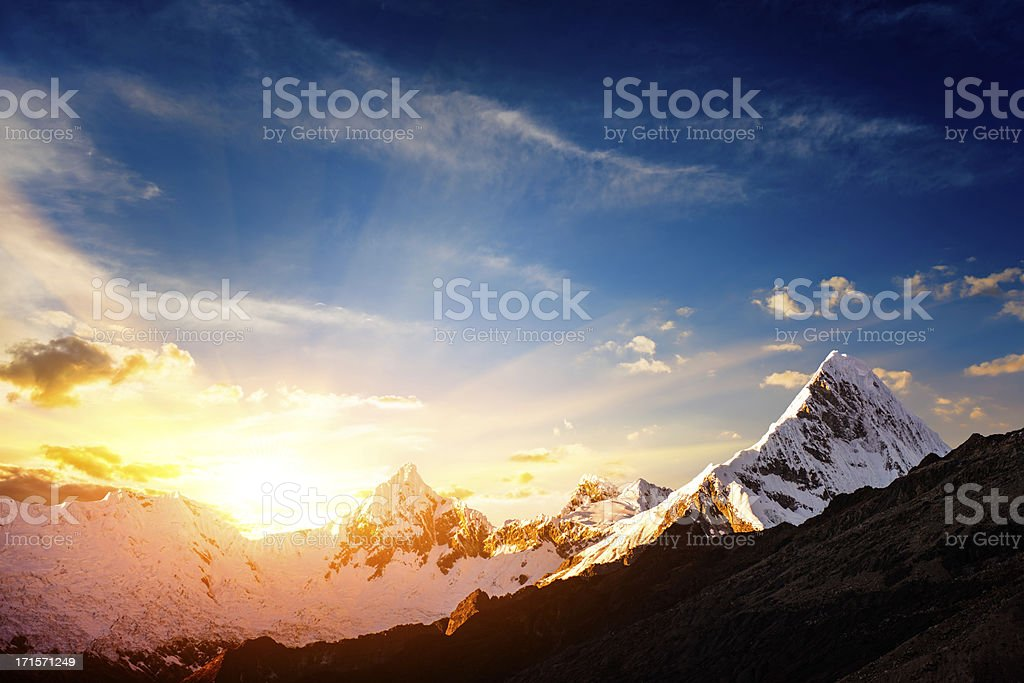 Sunset in the Cordillera Blanca mountain range stock photo