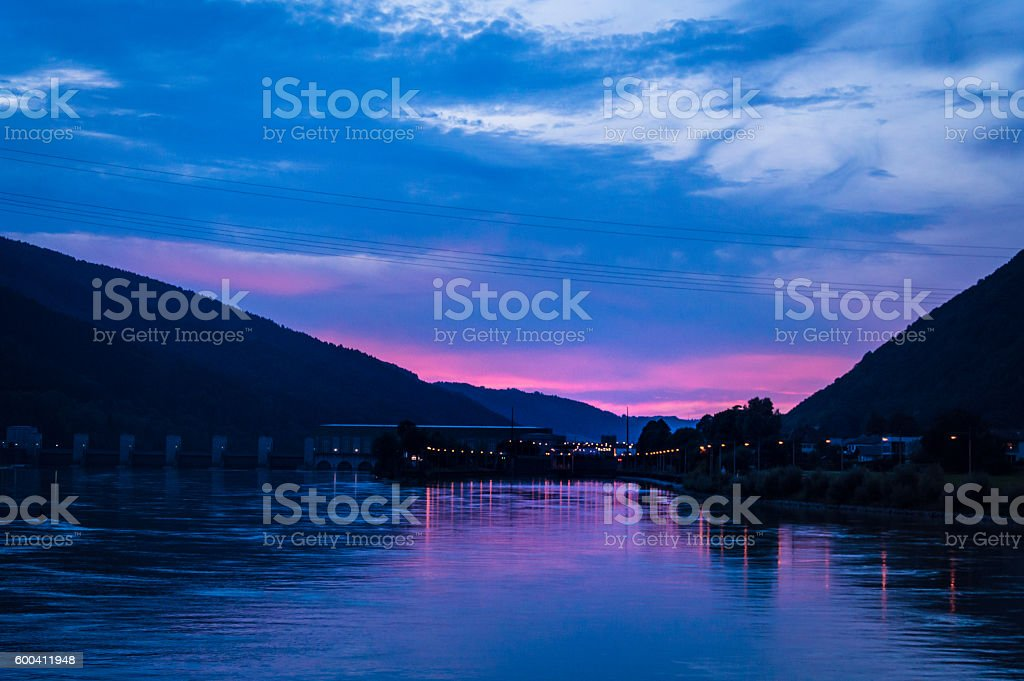 Sunset in the Danube Valley stock photo