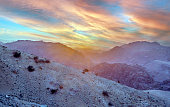 Sunset in the mountains of the Petra desert in Jordan