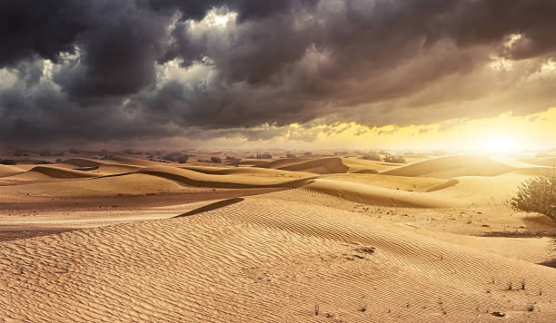 sunset in the desert sand dunes background - oman travel stock-fotos und bilder