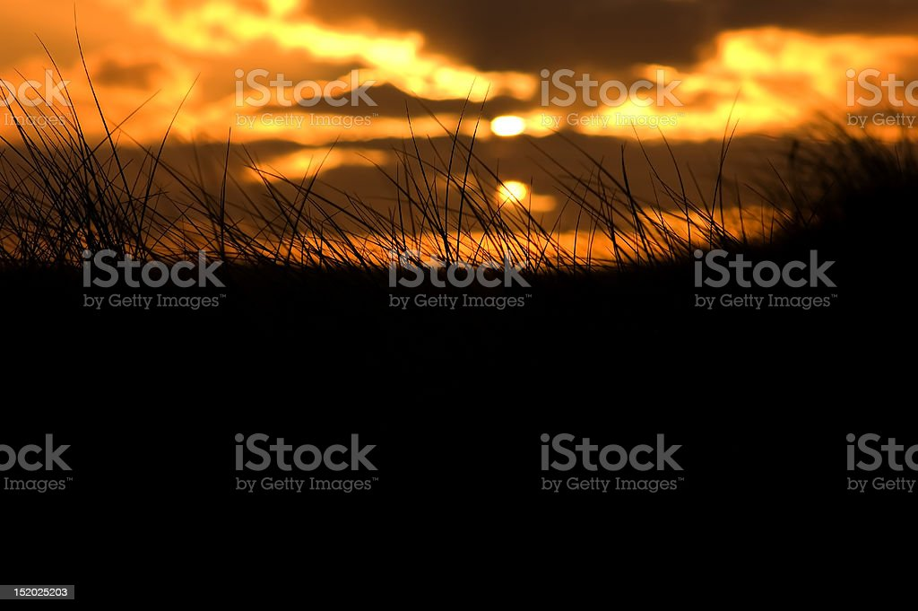 Sunset in the dunes stock photo