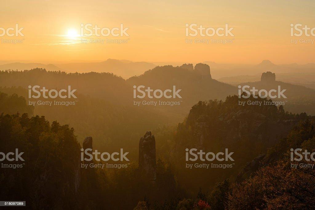 sunset in the Elbsandstein mountains stock photo