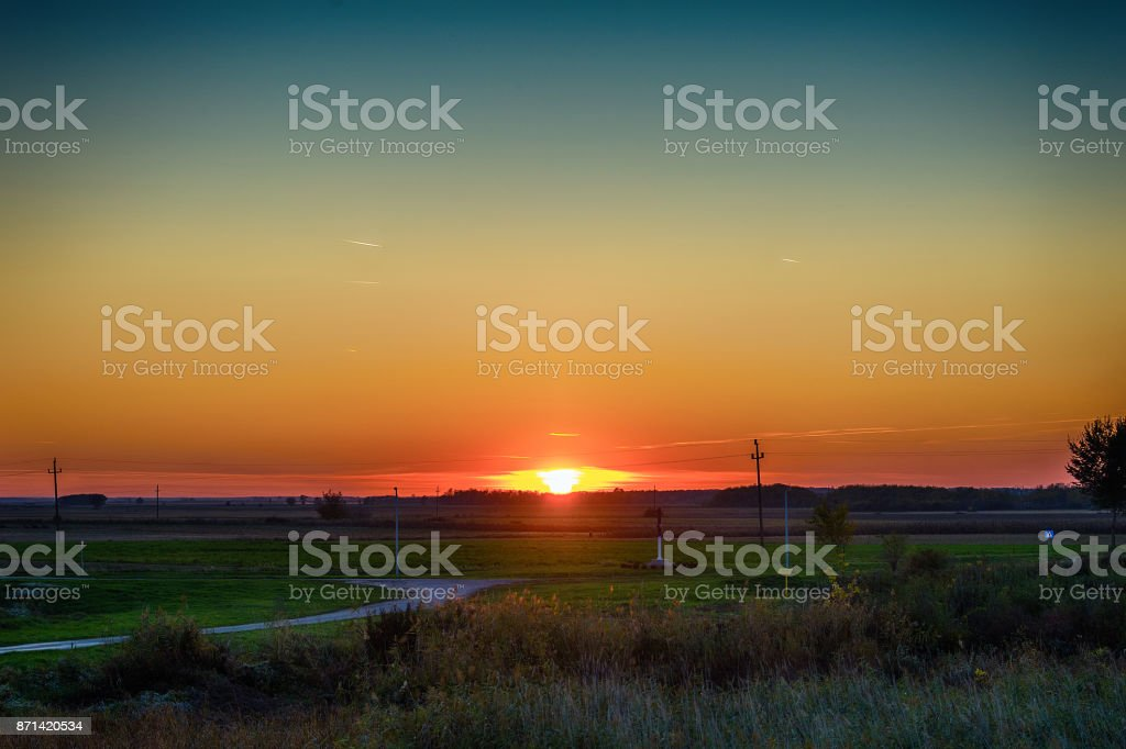 sunset in the fields of Vojvodina stock photo