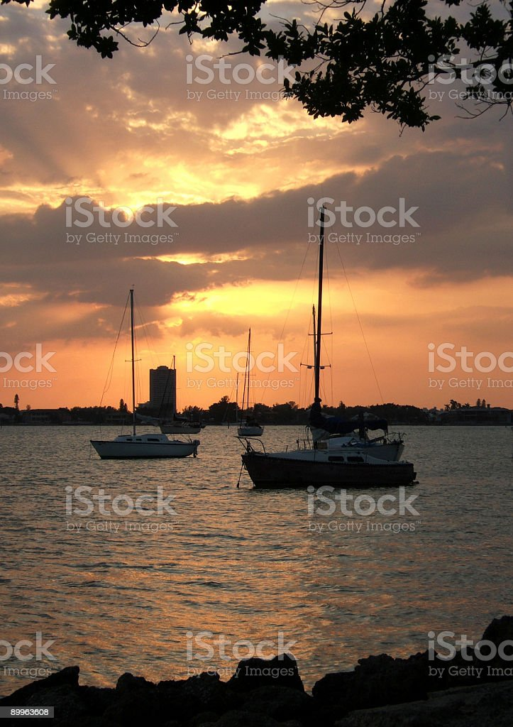 Sunset in the Florida bay stock photo