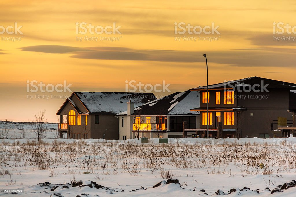 Sunset in the fridged prairies stock photo