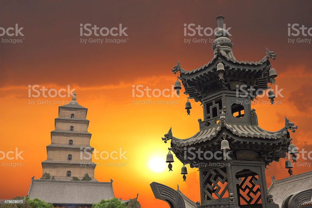 Sunset in the Giant Wild Goose Pagoda, X'ian, China stock photo