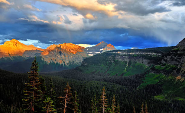 Sunset in the Glacier National Park