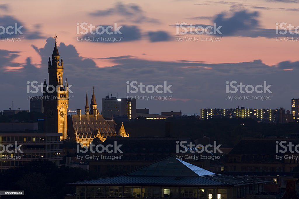 Sunset in The Hague. View at Peace Palace. stock photo
