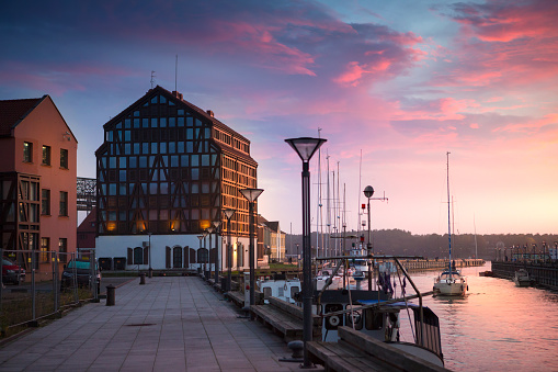 Sunset in the harbor. Klaipeda, Lithuania.