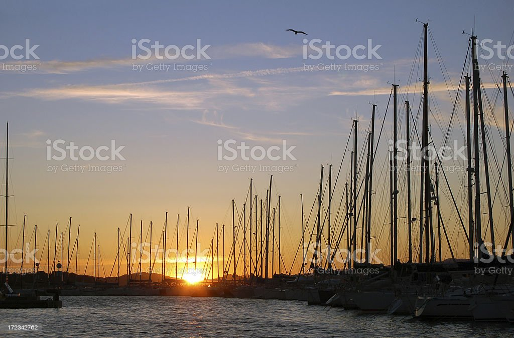 Sunset in the harbor royalty-free stock photo