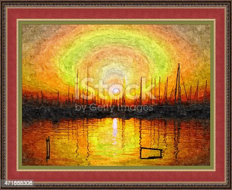 istock Sunset in the harbor (way of painting techniques) 471888308