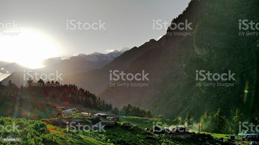 Sunset In the Himalayas. stock photo