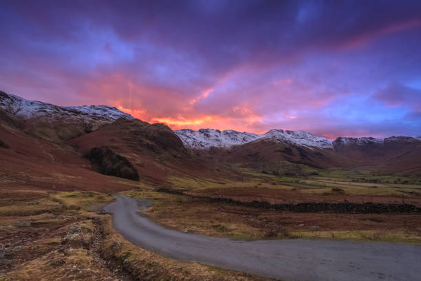 Sunset in the Langdale Valley stock photo
