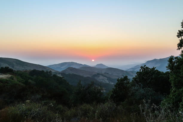 sunset in the los padres national forest - central coast california stock photos and pictures