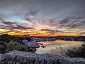 Sunset in the Mahon harbor on the first day of deconfusion, Es castell