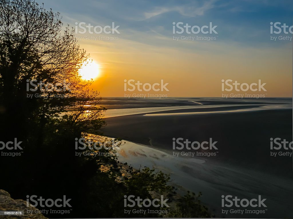 Sunset in the Mont Saint-Michel bay, France royalty-free stock photo