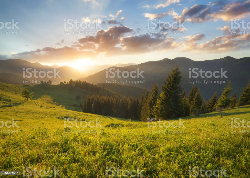 Sunset in the mountain valley. Beautiful natural landscape in the summer time stock photo