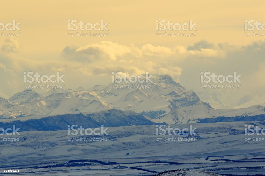 sunset in the mountains, Northern Caucasus, Pyatigorsk, Russia. stock photo