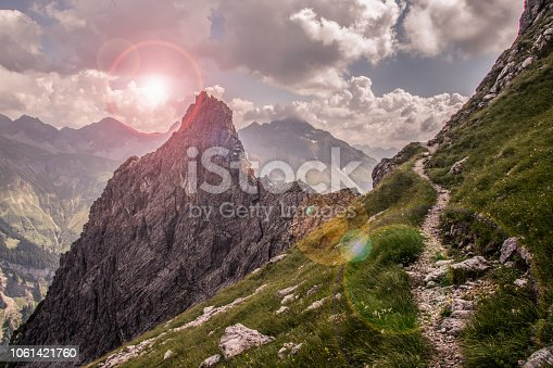 Narrow Mountain Path along a Steep Slope