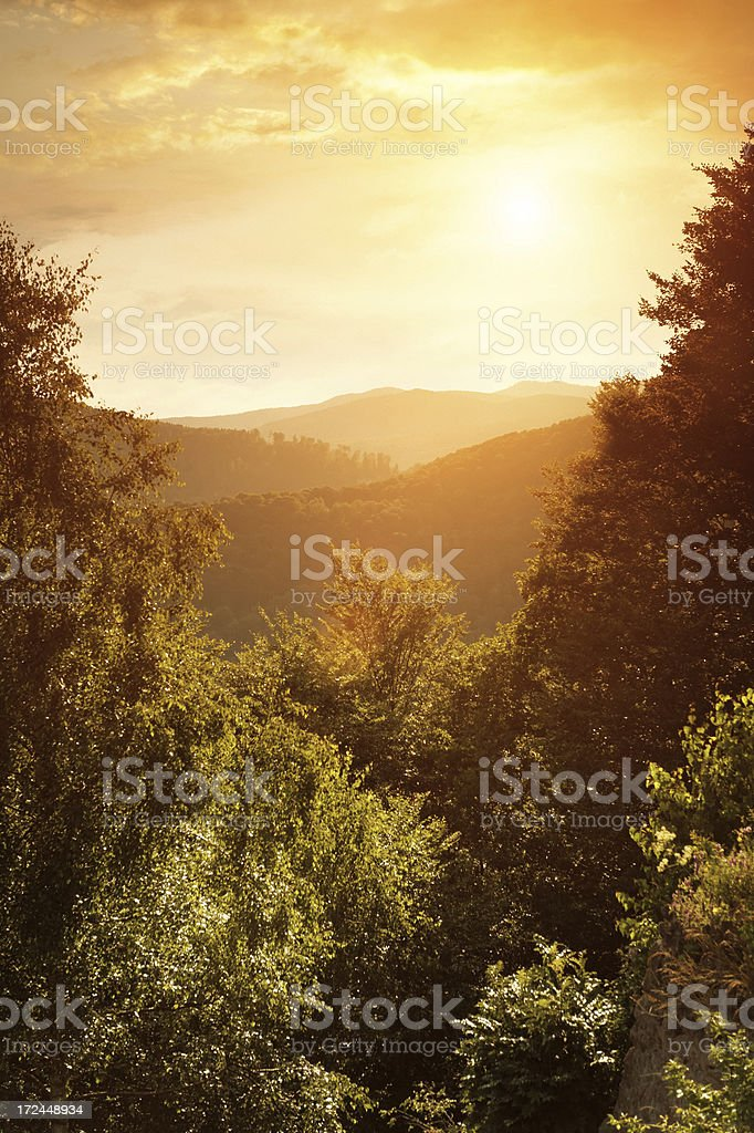 sunset in the mountains royalty-free stock photo