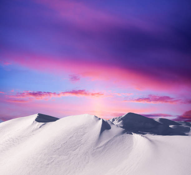 sunset in the mountains - mountain sunset stock photos and pictures