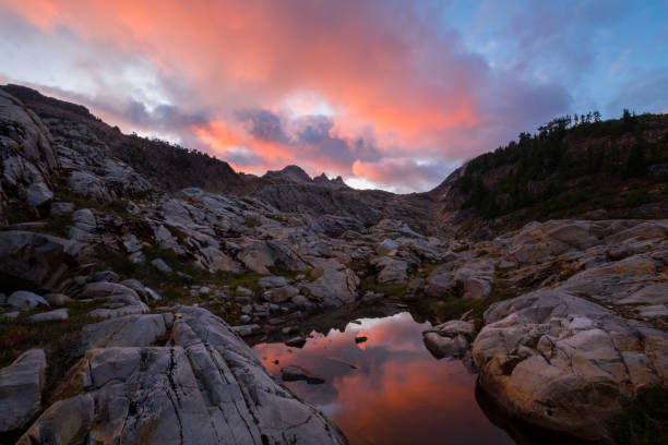 Sunset in the mountains with tarn pool stock photo