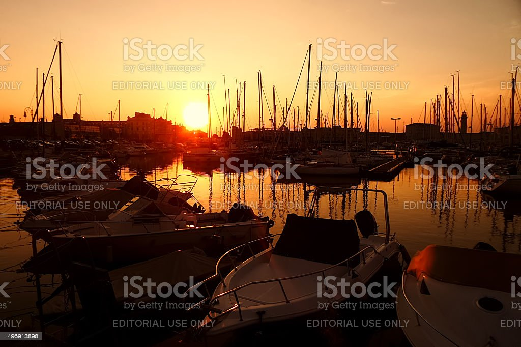 Sunset in the nautical smaller boats port. Trieste, Italy stock photo
