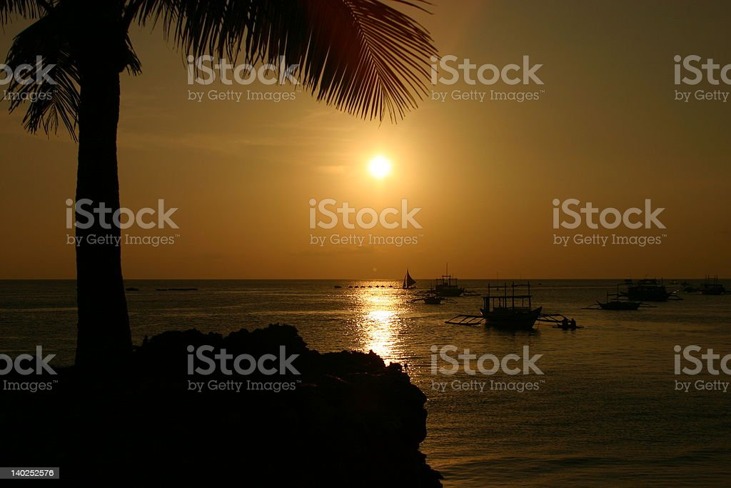 sunset in the pacific royalty-free stock photo