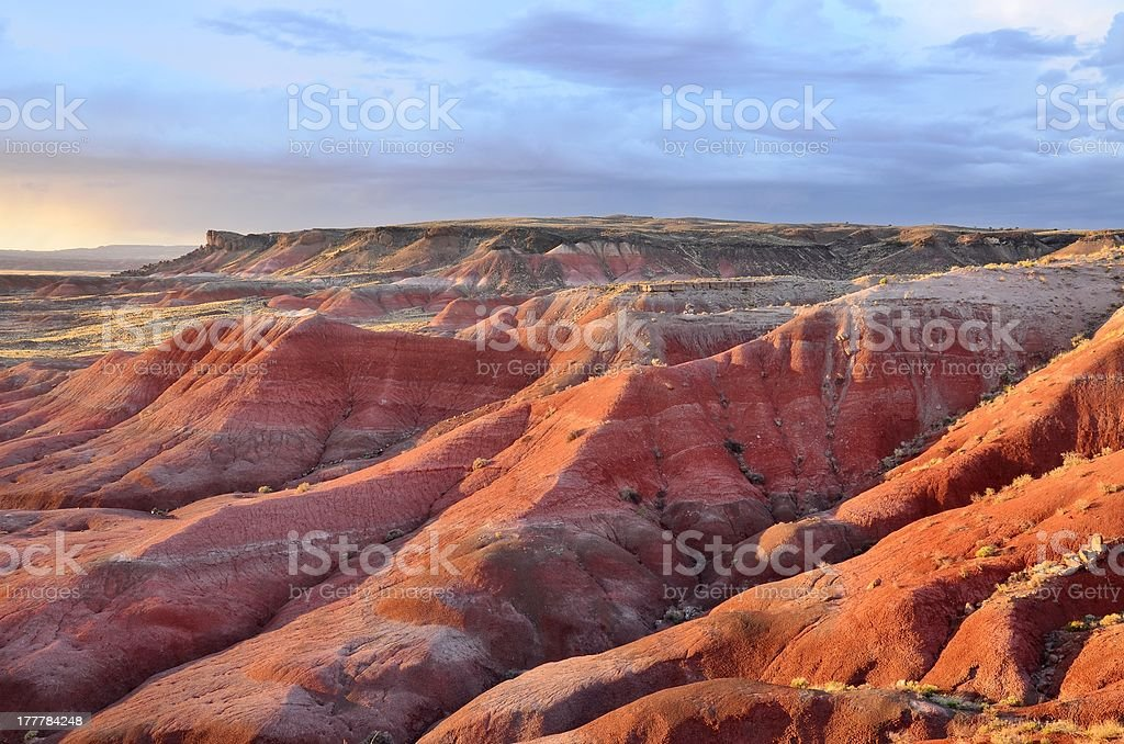 Sunset in the Painted Desert National Park stock photo