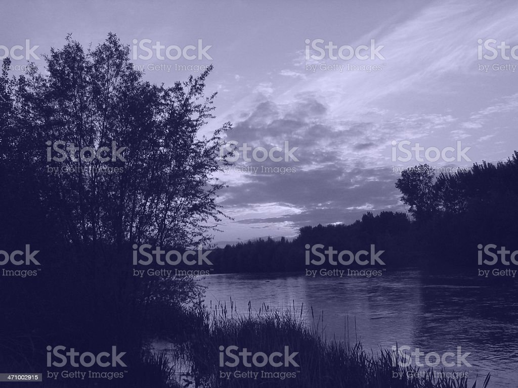 Sunset in the river stock photo