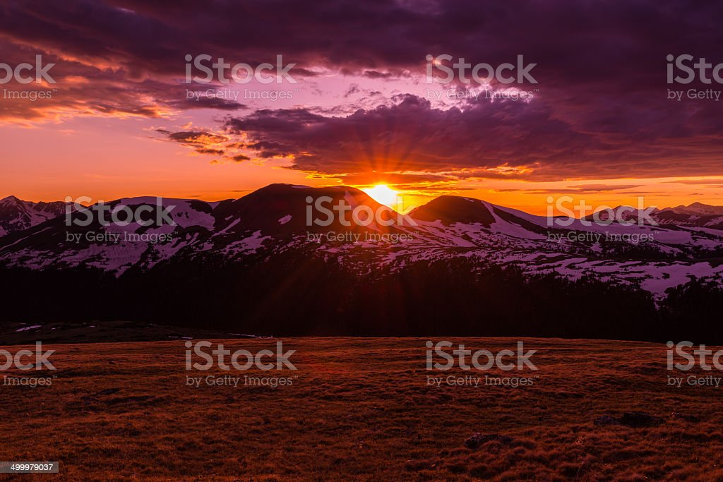Sunset in the Rocky Mountains stock photo