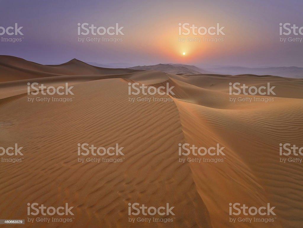 Sunset in the Rub Al Khali Desert stock photo